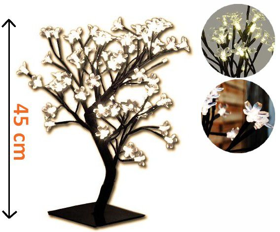 Dekoratívne LED osvetlenie - strom s kvetmi, teplá biela