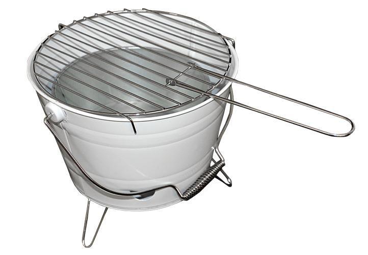 Mini BBQ gril vedro - biely