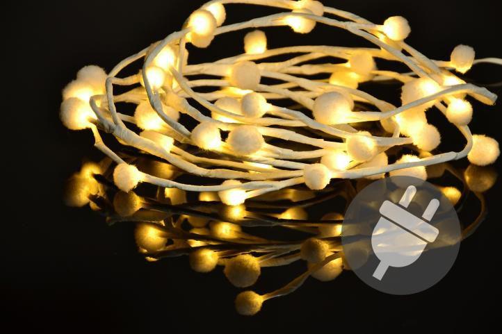 Vianočné LED osvetlenie – snehové vločky – 48 LED, teplá biela