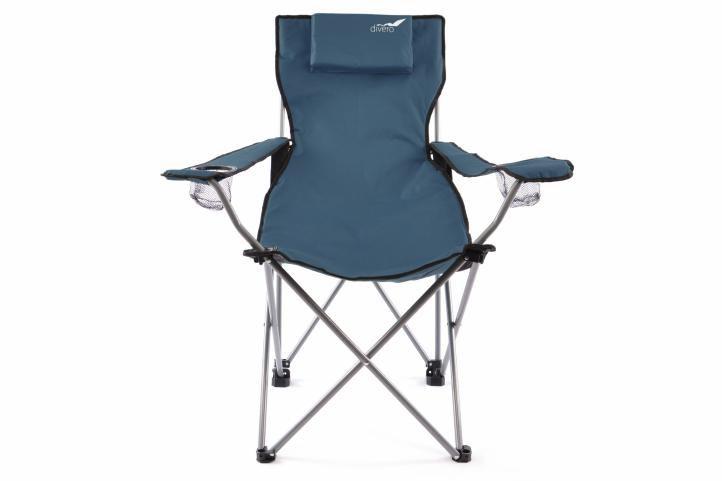Skladacia kempingová stolička DIVERO s vankúšikom – modrá