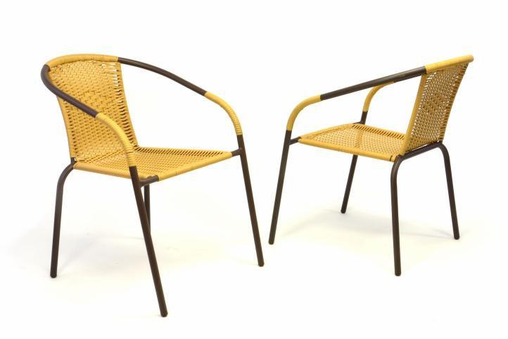 Sada 2 ks bistro stoličiek stohovatelných s polyratanovým výpletom béžovej farby