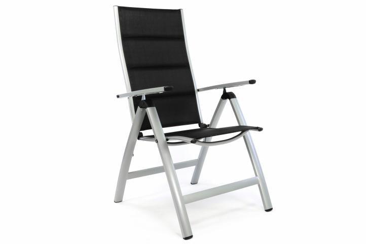 Luxusná záhradná stolička s polstrovaním, čierna