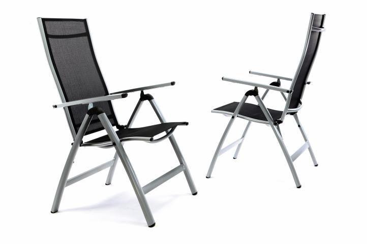 Sada 2 x extra široké záhradné stoličky polohovateľné – čierna