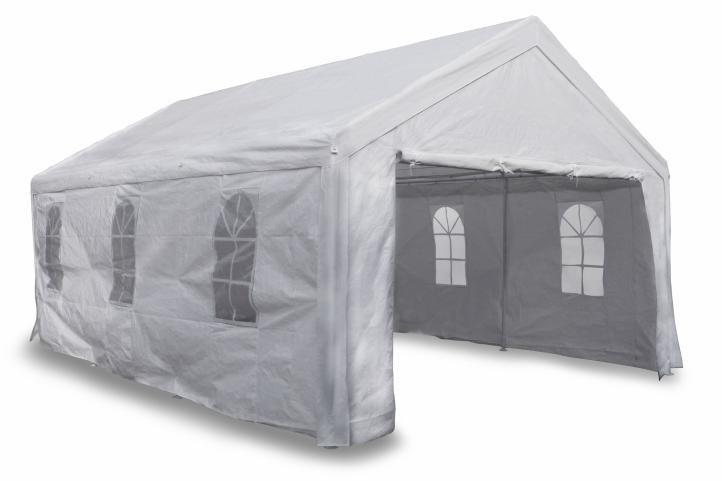 Záhradný párty stan 4 x 6 m biely s postrannými dielmi 180g / m² PE