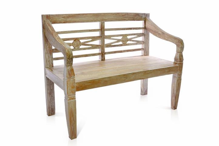 Záhradná lavica DIVERO 2-miestna z masívneho teakového dreva 115 cm