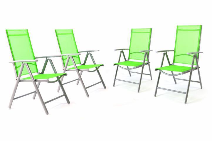 Sada 4 kusov hliníková skladacia stolička Garth - zelená