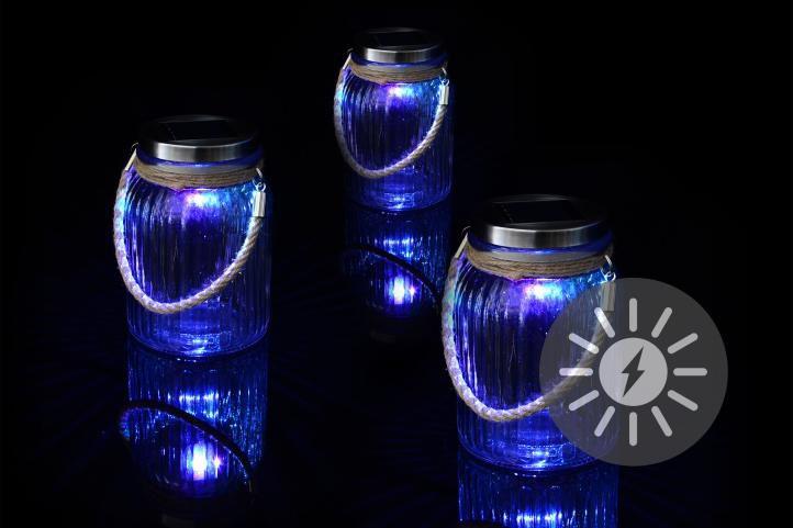 Sada 3 ks solárnych lámp - 1 LED dióda meniaca farby