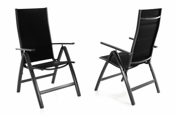 Sada dvoch záhradných hliníkových stoličiek DELUXE - čierna