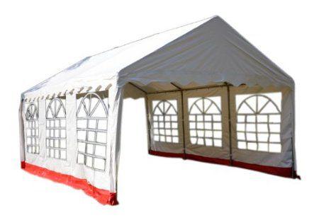 Garthen 412 Záhradný stan - biela / červená, 4 x 6 m