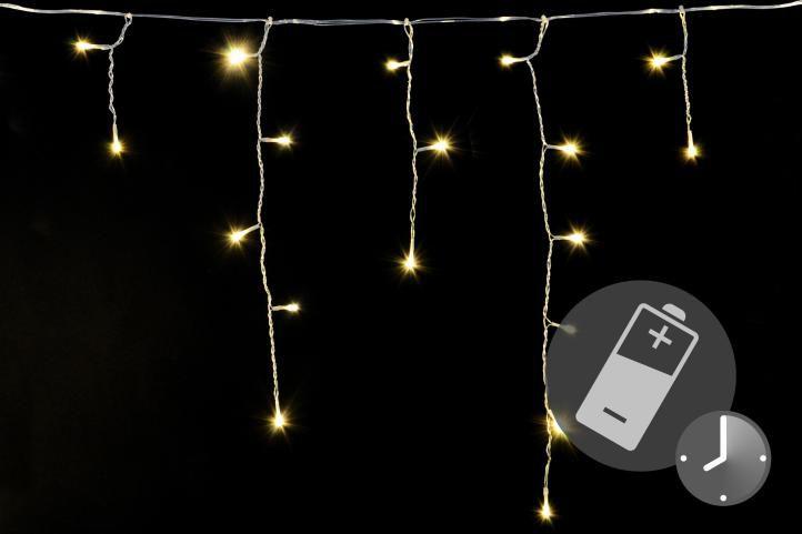 Vianočný svetelný dážď 144 LED teplá biela - 5 m s časovačom