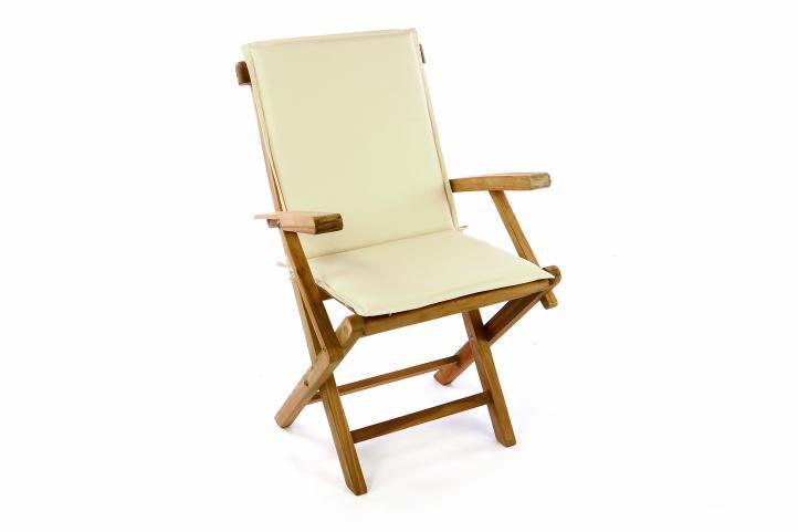 Skladacia záhradná stolička DIVERO vrátane polstrovania - krémová