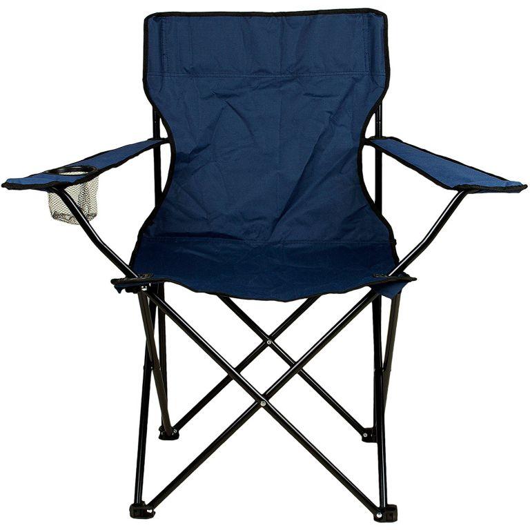 Skladacia stolička s držiakom nápojov - modrá