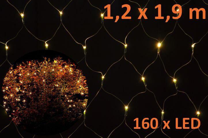 LED svetelná sieť 1,2 x 1,9 m - teplá biela, 160 diód