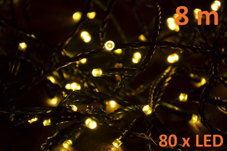 Vianočné LED osvetlenie 8 m - teplá biela, 80 diód