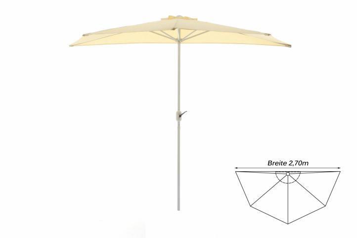 Garthen 6301 Polkruhový záhradný slnečník - béžový - 2,7 m