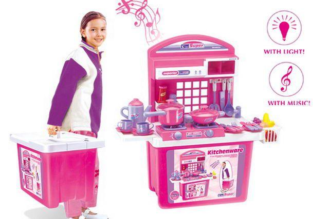 Detská kuchynka G21 s príslušenstvom v kufríku ružová
