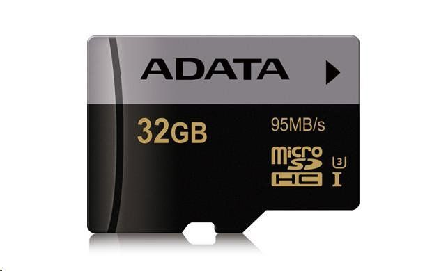 Paměťová karta Adata Micro SDHC Premier Pro 32GB UHS-I U3, (R:95MB)