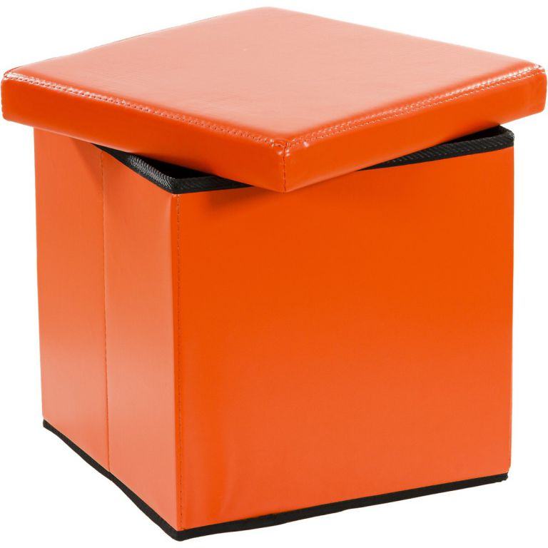 Taburet s úložným priestorom, oranžový