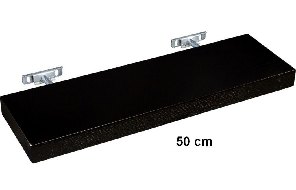 Nástěnná police STILISTA SALIENTO - hnědočerná 50 cm