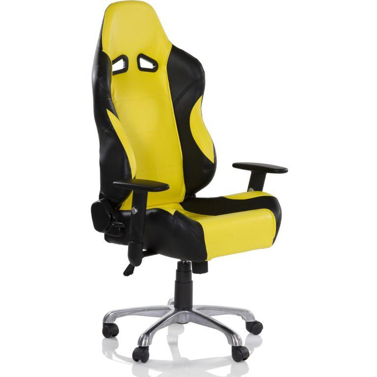 Kancelárska otočná stolička RS Series, čierna/žltá