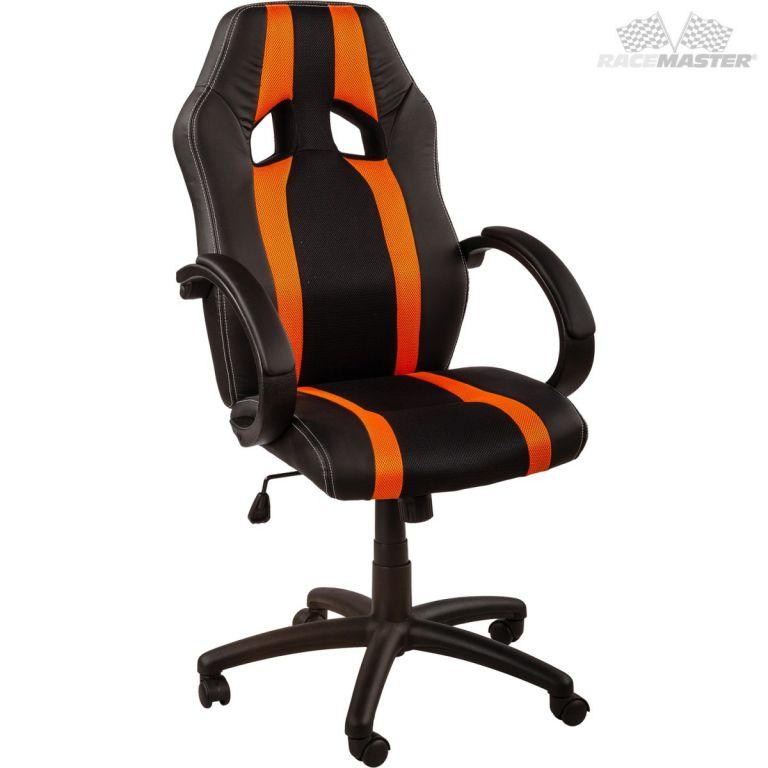 RACEMASTER 39173 Kancelárska stolička GS Tripes Series čierna/oranžová