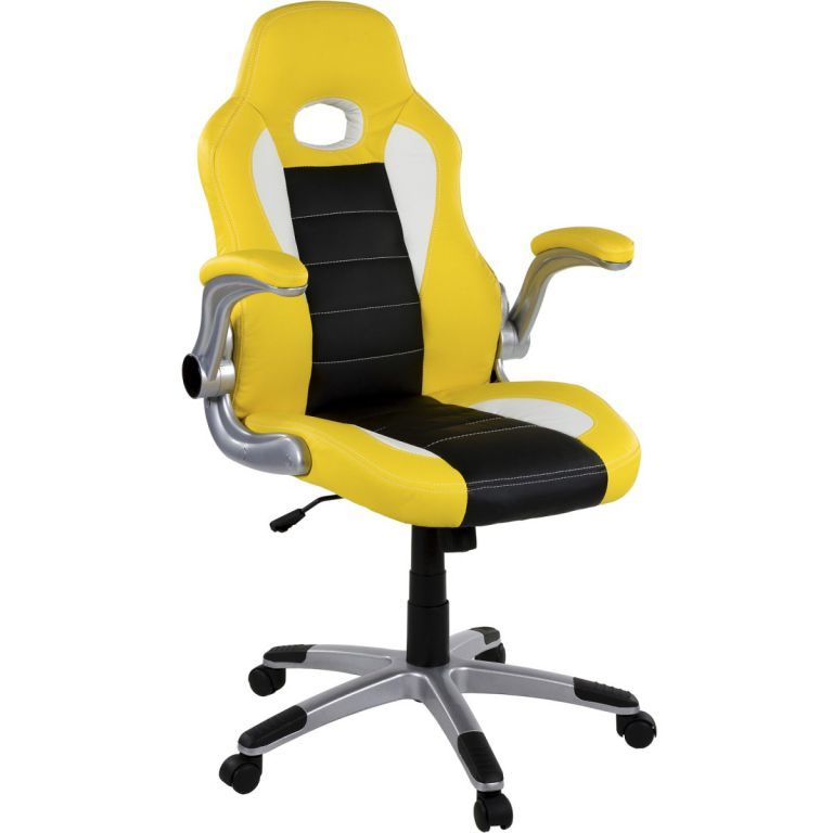 RACEMASTER 39188 Kancelárska stolička GT Stripes Series žltá/čierna/biela