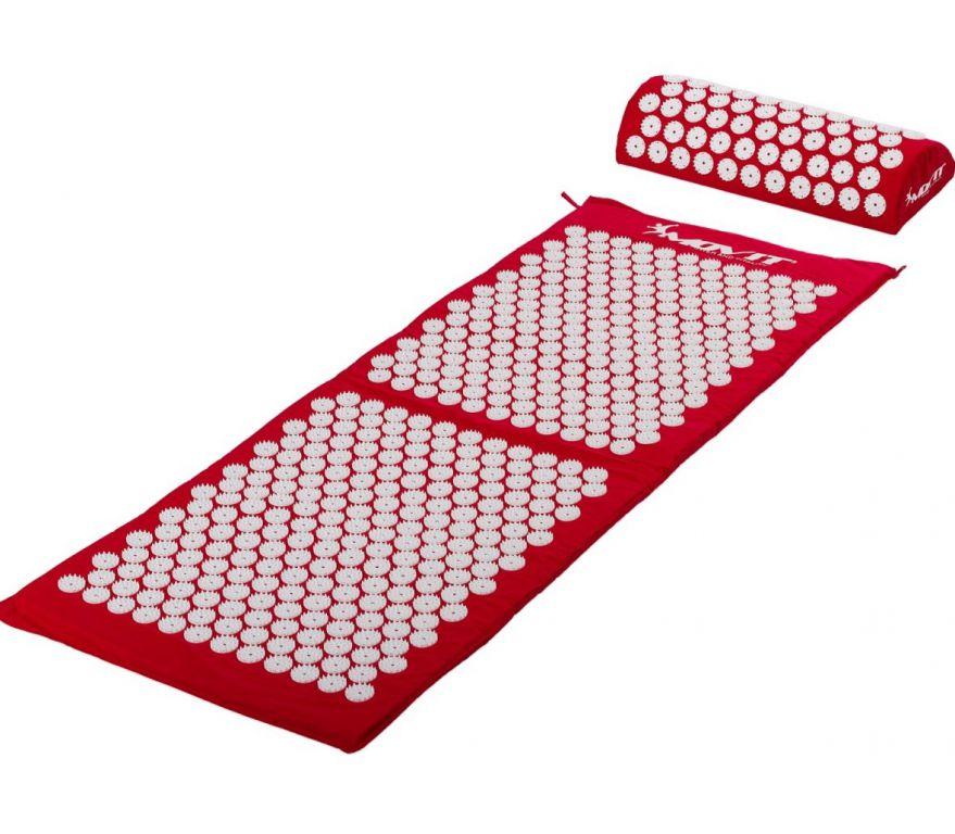 Akupresúrna podložka s vankúšom MOVIT 130 x 50 cm - červená