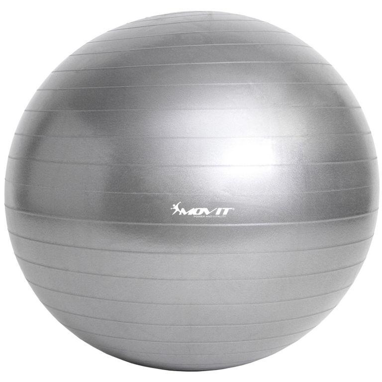 Gymnastická lopta MOVIT s pumpou – 55 cm – strieborná