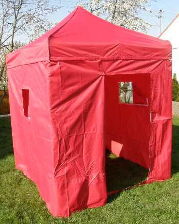 Záhradný párty stan DELUXE nožnicový + bočné steny - 2 x 2 m červený