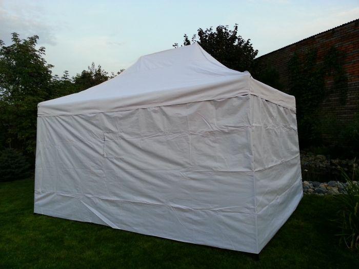 Záhradný párty stan DELUXE nožnicový + bočná stena - 3 x 4,5 m biela