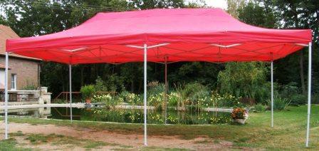 Záhradný párty stan DELUXE nožnicový - 3 x 6 m červená