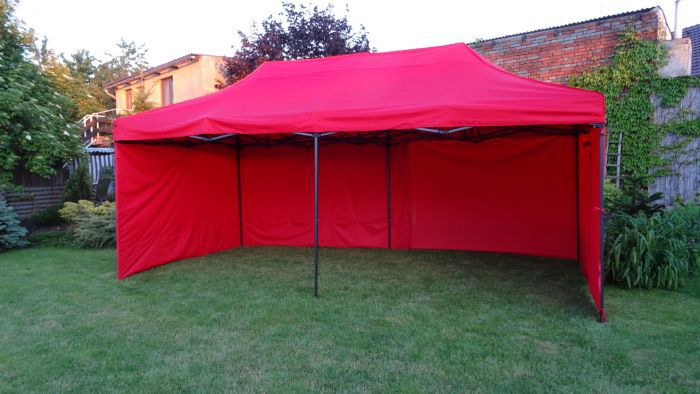 Záhradný nožnicový párty stan DELUXE + bočná stena - 3 x 6 m červená