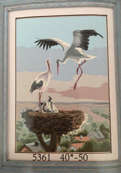 Malování podle čísel na plátno - rodina čápů