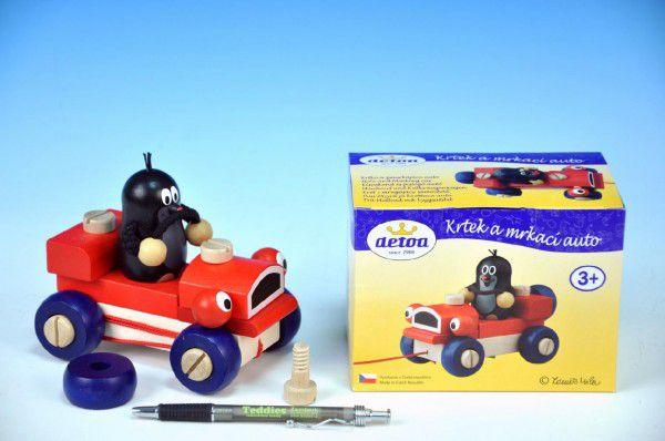Krtek a mrkací auto dřevo tahací 14cm v krabičce