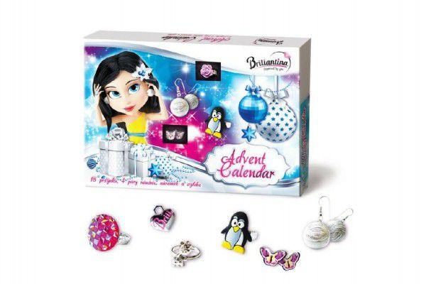 Adventní kalendář Briliantina - 18 prstýnků, 4 páry náušnic, náramek a ozdoba v krabici 35