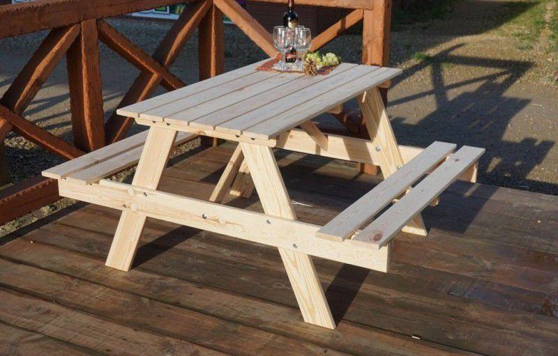 Zahradní dřevěný set PIKNIK 120 cm přírodní