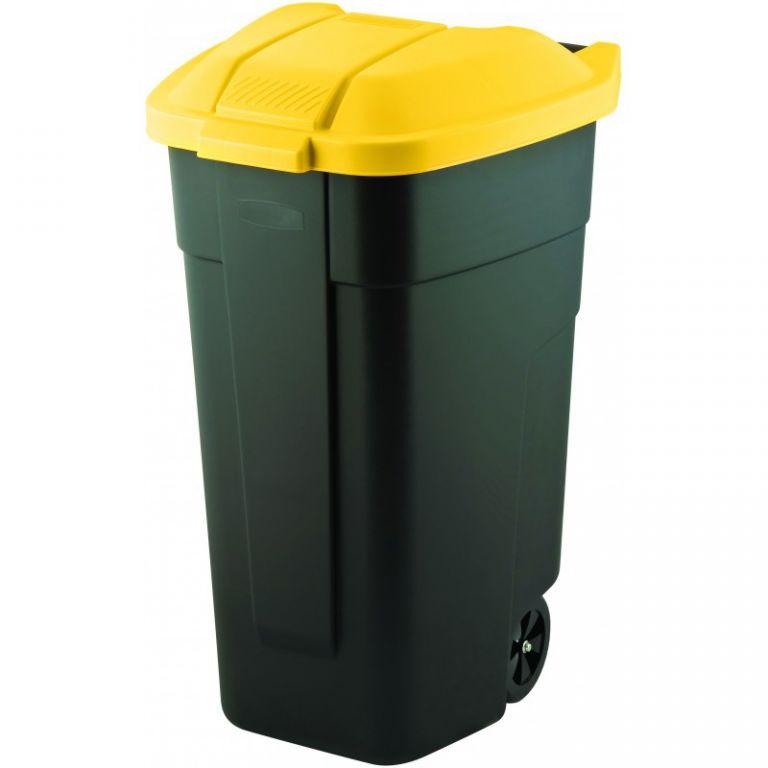 Plastová popelnice COLOR 110 l - černá/žlutá CURVER
