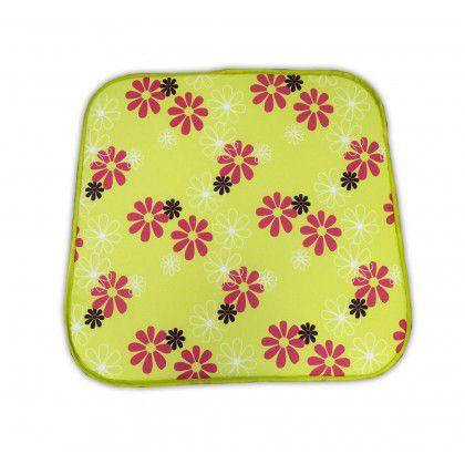 Sedák na kreslo SABA - zelený s kvetmi 30330-220