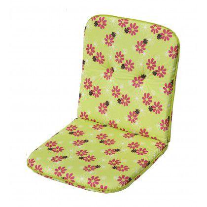 Sedák na nízke kreslo SCALA - zelená s  kvetmi 30330-220