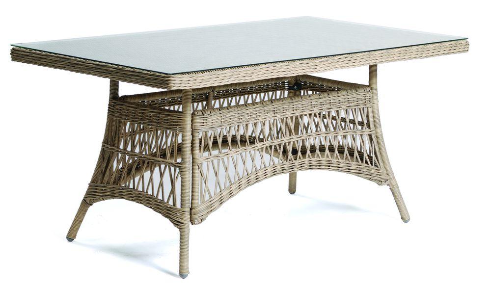 Zahradní polyratanový stůl se skleněnou deskou DENVER - 160 cm